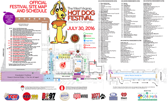 2016 West Virginia Hot Dog Festival Site Map and Schedule