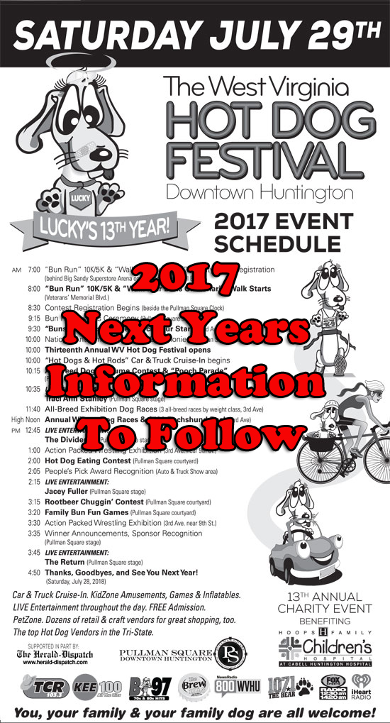 2017 West Virginia Hot Dog Festival Event Schedule