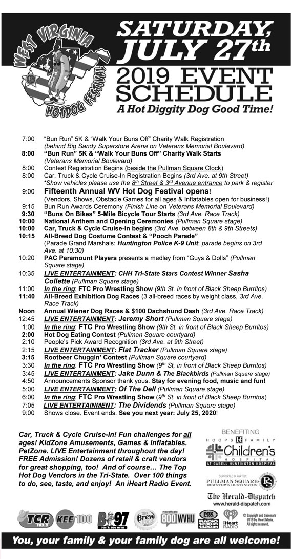 2019 WV Hot Dog Festival Schedule of Events
